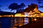 Sunset, evening at the port of Porto Levante on the island of Vulkano, Aeolian Islands, southern Italy