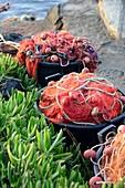 Ton fishing nets on the beach at Porto Levante on the island of Vulkano, Aeolian Islands, southern Italy