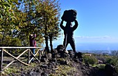 Lava figure at Zafferana and sea, Etna volcano, east coast, Sicily, Italy