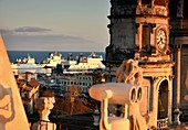 Church tower, ships, on the church of Santa Agata with a view of the harbor, Catania, east coast, Sicily, Italy