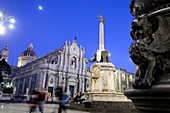 Monument, elephant made of lava stone, in the evening on Piazza Duomo, Catania, east coast, Sicily, Italy