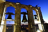 Evening view of bell tower over the old town of Noto, east coast, Sicily, Italy