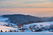 Dachsberg - Hierbach with Swiss Alps at sunset, winter, snow, Hotzenwald, southern Black Forest, Black Forest, Baden-Wuerttemberg, Germany, Europe