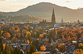 Freiburg Minster in autumn leaves, Freiburg, Breisgau, Southern Black Forest, Black Forest, Baden-Wuerttemberg, Germany, Europe