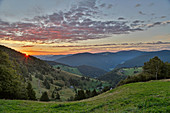 View from Schauinsland to Feldberg, sunrise, Hofsgrund, Southern Black Forest, Black Forest, Baden-Wuerttemberg, Germany, Europe