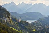 View of Neuschwanstein Castle, Hohenschwangau Castle, Alpsee, Schwangau Municipality, Ammer Mountains, Ostallg? U, Bavaria, Germany, Europe