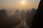 Limestone Karst Formations along River Li at Dawn\nGuilin Region\nGuangxi, China\nLA008302
