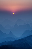 Limestone Karst Formations at Dawn\nGuilin Region\nGuangxi, China\nLA008143