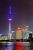 Shanghai Cityscape at night featuring Oriental Pearl Tower\nChina\nLA008685