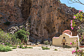Flowering shrubs and chapel in the Agiofaraggo Gorge near Mátala, south Crete, Greece