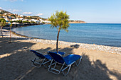 Tsoútsouros beach with 2 loungers, southeast Crete, Greece