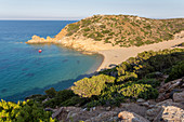 View of Paralia Psili Ammos - nudist beach at Vai Palm Beach, East Crete, Greece