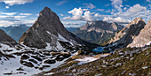 Seebensee panorama in spring with snow, Sonnenspitze, Zugspitze, clouds in the sky, Ehrwald Austria