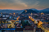 View of the historical centre and the Schlossberg, Graz, Austria