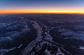 Innsbruck from the air at sunrise, Tyrol, Austria