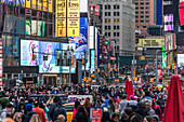 Thousands of people in Times Square, New York City, USA