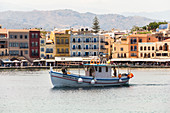Boat in the Venetian port in Chania, northwest Crete, Greece
