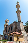 Ágios Nikólaos - Church and minaret in Chania, northwest Crete, Greece