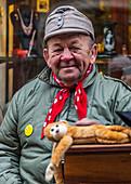 Czech puppeteer in the streets of Krumau, Czech Republic
