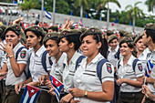 Young girls at Labor Day celebrations, Havana, Cuba