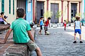 Cuban children play soccer, Camagüey, Cuba