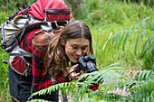 Mädchen, 16 Jahre, fotografiert Farne im Killarney Nationalpark, Grafschaft Kerry, Irland, Europa