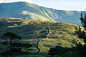 Irish mountain landscape with stone wall, County Galway, Ireland