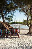 Sales stall with souvenirs on the main beach at Watamu, Watamu, Malindi, Kenya
