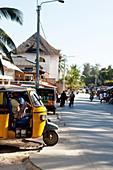 Tuk tuk and street scene, Watamu, Malindi, Kenya