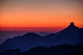 Morgenrot on the Kampenwand, from the Hochries, Chiemgau Alps, Upper Bavaria, Bavaria, Germany