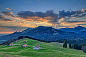 Cloud mood over Chiemgau Alps, from Heuberg, Chiemgau Alps, Chiemgau, Upper Bavaria, Bavaria, Germany