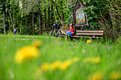 Woman cycling sits on bench and takes break under cane, tree-to-tree bike path, Irschenberg, Upper Bavaria, Bavaria, Germany