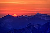 Sunrise over Hochries and Kampenwand, Wendelstein area, Mangfall Mountains, Bavarian Alps, Upper Bavaria, Bavaria, Germany