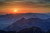 Sunrise over Chiemgau Alps, from the Wendelstein area, Mangfall Mountains, Bavarian Alps, Upper Bavaria, Bavaria, Germany