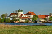 Seeon Abbey at Klostersee, Seeon Abbey, Benediktradweg, Chiemgau, Upper Bavaria, Bavaria, Germany