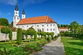 Park and church in Gars, Gars, Benediktradweg, Upper Bavaria, Bavaria, Germany