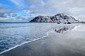 Waves on the beach at Flakstad, Flakstad, Lofoten, Nordland, Norway