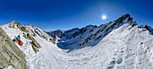 Panorama with woman on ski tour takes a break, Steintalspitzen, Stubai Alps, Tyrol, Austria