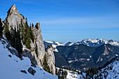 Felstürme des Blankenstein, Plankenstein, Spitzinggebiet im Hintergrund, Blankenstein, Bayerische Alpen, Oberbayern, Bayern, Deutschland