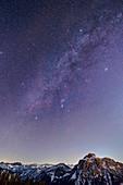 Starry sky with Milky Way over Säuling, from Tegelberg, Tegelberg, Ammergau Alps, Bavarian Alps, Upper Bavaria, Bavaria, Germany