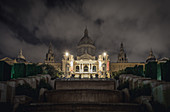 Night view of National Museum of Art in Barcelona, Spain