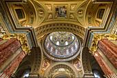 Inside of St. Stephen's Basilica in Budapest, Hungary