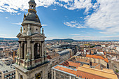 View from the observation deck of St. Stephen's Basilica in Budapest, Hungary