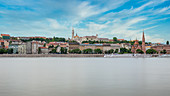 View over the Danube to the Fisherman's Bastion in Budapest, Hungary