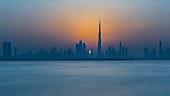 The city skyline just before sunset in Dubai, UAE