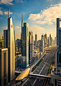 Sunset overlooking downtown Dubai, UAE