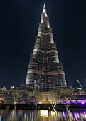 At night at the Burj Khalifa in Dubai, UAE