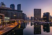The Dubai Marina just before sunrise, Dubai, UAE