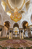 Inside the Sheikh Zayed Grand Mosque in Abu Dhabi, UAE