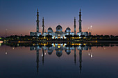 General view of the illuminated Sheikh Zayid Mosque in Abu Dhabi, UAE